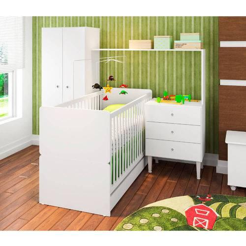 Quarto de Bebê Compacto Berço Mini Cama Roupeiro e Cômoda Branco