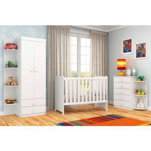 Quarto de Bebê Completo Rodial Arco-Íris com Guarda-Roupa, Cômoda, Berço e Colchão - Branco
