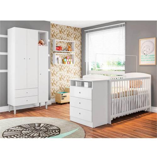 Quarto de Bebê Encanto Berço Cômoda, Nichos e Roupeiro - Branco