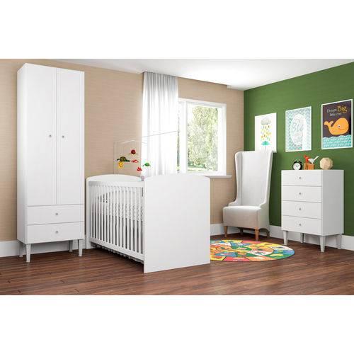 Quarto Infantil com Berço Aconchego Branco - ATMCJ009 BR - Art In Móveis