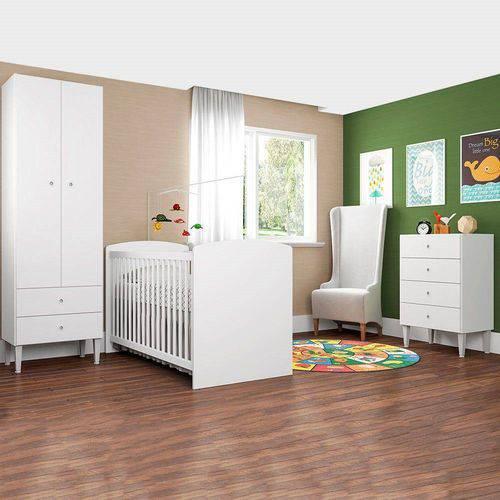 Quarto Infantil com Berço Aconchego CJ009 Art In Móveis Branco