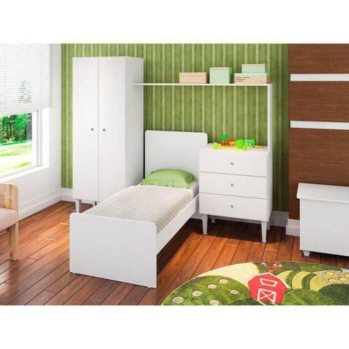 Quarto Infantil com Berço, Cômoda e Guarda-Roupas Compacto Branco - ATMCJ002 BR - Art In Móveis