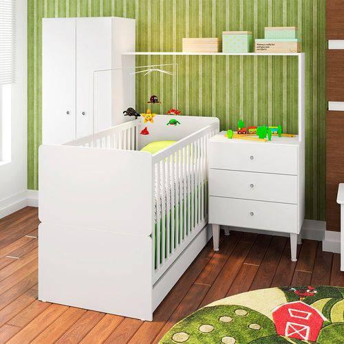 Quarto Infantil com Berço Compacto CJ002 Art In Móveis Branco