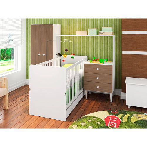 Quarto Infantil com Berço Compacto 2 Portas 3 Gavetas Art In Móveis