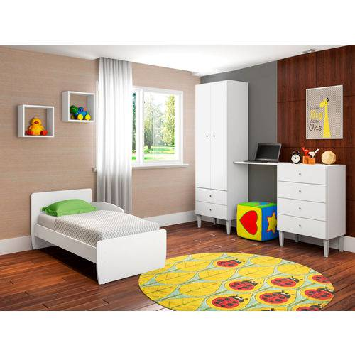 Quarto Infantil com Berço Docinho Branco - ATMCJ004 BR - Art In Móveis