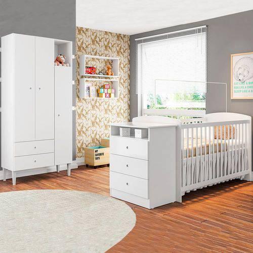 Quarto Infantil com Berço Encanto Branco - Art In Móveis