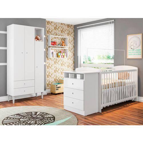 Quarto Infantil Completo Berço Guarda Roupa 3 Portas 2 Gavetas Nicho Grande Encanto Branco - Art In Móveis