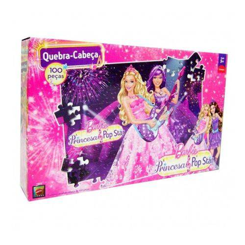 Quebra-Cabeça Barbie Princesa Pop Star 100 Peças - Mattel