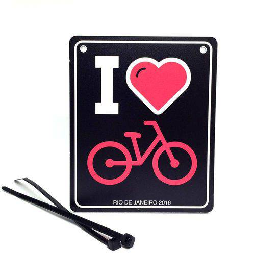 """""""Placa de Sinalização para Bicicleta """"I Love Bike"""" Preta"""