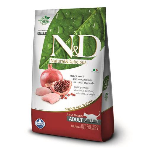 Ração Farmina Nd Grain Free para Gatos Adultos Sabor Frango e Romã - 1,5kg
