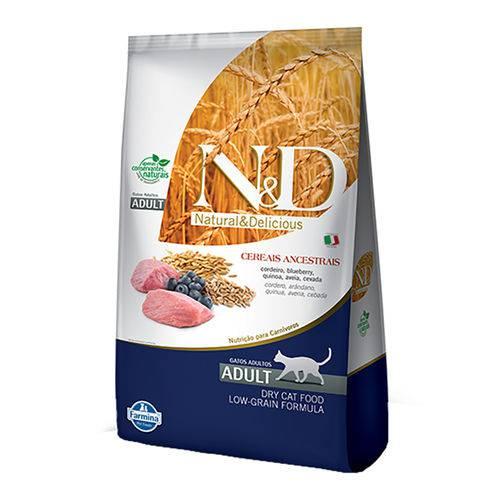 Ração Farmina N&d Low Grain para Gatos Adultos Sabor Cordeiro e Blueberry - 400g