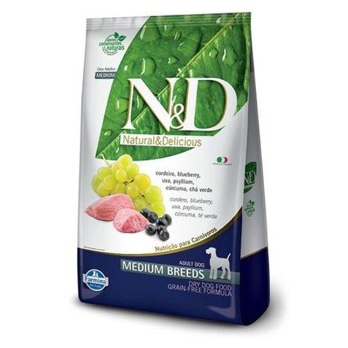 Ração Farmina N&D Cordeiro e Blueberry para Cães Adultos de Raças Médias 10,1kg