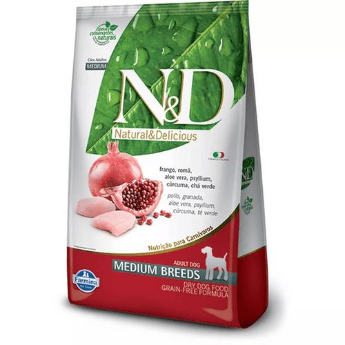 Ração Farmina N&D Grain Free Canine Formula Frango e Romã para Cães Adultos de Raças Médias 10,1kg