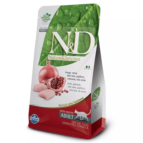 Ração Farmina N&D Grain Free Sabor Frango e Romã para Gatos Adultos 10,1kg