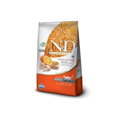 Ração Farmina N&D Low Ancestral Grain Sabor Peixe e Laranja para Gatos Adultos 10,1kg