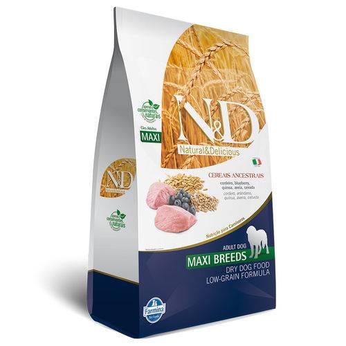 Ração Farmina Nd Low Grain para Cães Adultos de Raças Grandes Sabor Cordeiro e Blueberry - 10kg