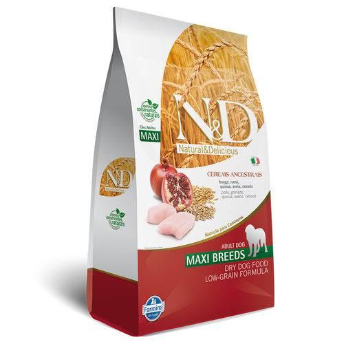 Ração Farmina Nd Low Grain para Cães Adultos de Raças Grandes Sabor Frango e Romã - 10kg