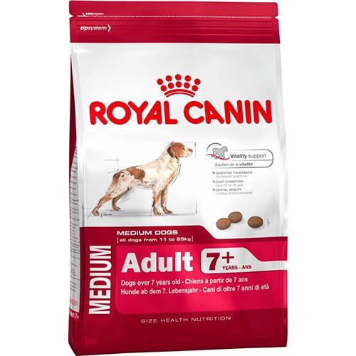 Ração Medium Adult 7+ para Cães Adultos de Raças Médias com 7 Anos ou Mais 15kg - Royal Canin