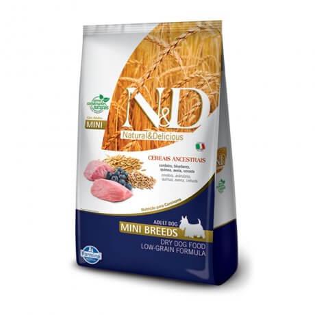 Ração N&D Cereais Ancestrais para Cães Adultos Raças Mini Sabor Cordeiro e Blueberry - 2,5 KG