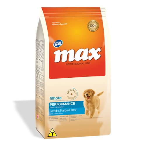 Ração para Cães Max Professional Line Performance Filhotes Sabor Cordeiro, Frango e Arroz 2Kg