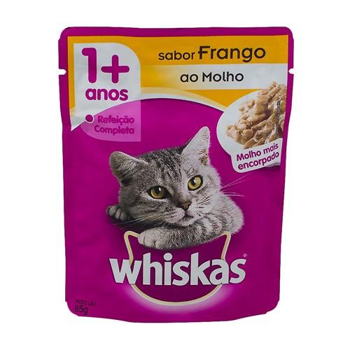 Ração para Gatos Whiskas Adulto 1+ Anos Sachê 85g Sabor Frango ao Molho Mais Encorporado
