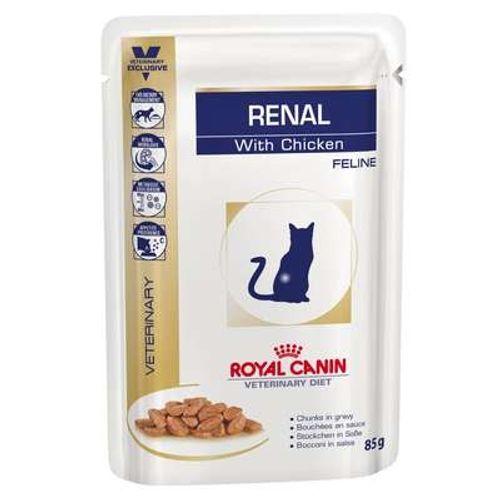Ração Royal Canin Sachê Feline Veterinary Diet Renal Frango para Gatos 85g