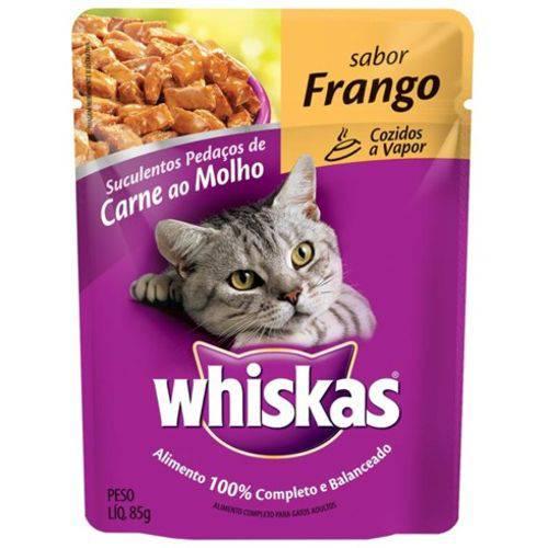 Ração Úmida Pedigree Whiskas Sachê para Gatos Sabor Frango Kit com 5 Unidades 85g