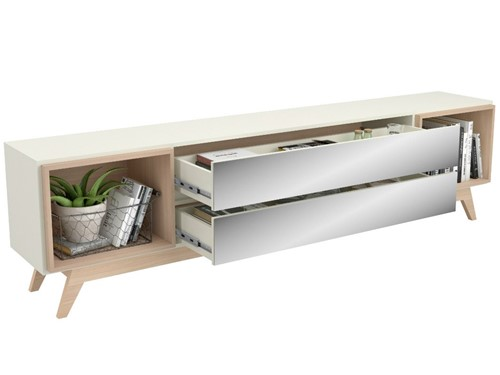 Rack Dalla Costa R422 02 Gavetas Espelhadas Off White e Natural