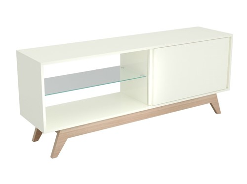 Rack Dalla Costa R414 01 Porta de Correr Off White e Natural