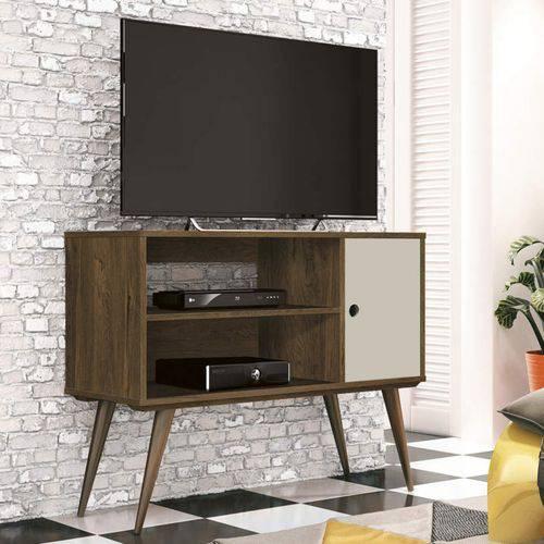 Rack para TV Até 32 Polegadas 1 Porta Reale Retrô EDN Móveis Nogal Rústico/ Off White