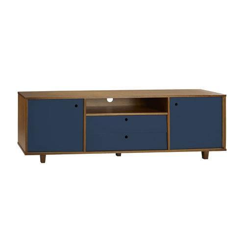 Rack para TV 2 Portas e 2 Gavetas Vintage 364 Nogal/Azul Noite - Maxima