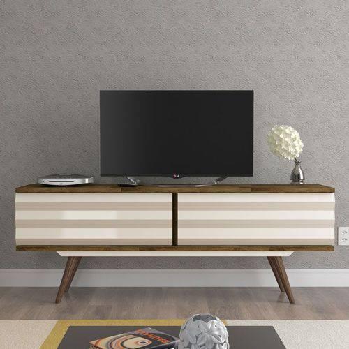 Rack para Tv San Diego Amadeirado Rustico com Off White - Rv Móveis