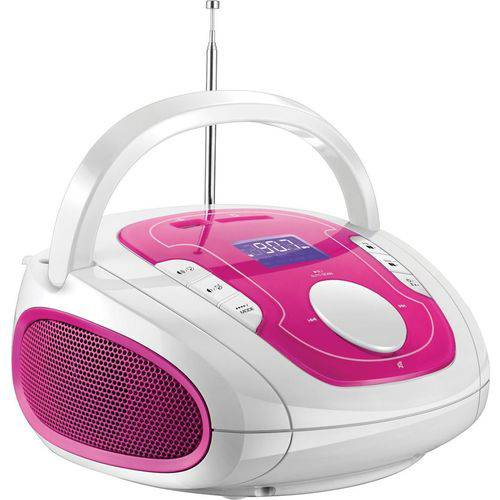 Rádio Boombox Fm USB Sd Bluetooth P2 SP187 Branco e Rosa Multilaser