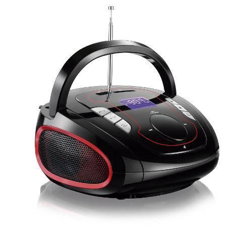 Radio Boombox Fm/usb/sd/bt Bluetooth Vermlho e Preto Sp186