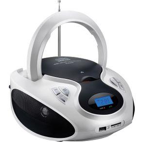Rádio Boombox Multilaser 20W RMS CD/USB/SD/FM/AUX Branco/Preto SP181