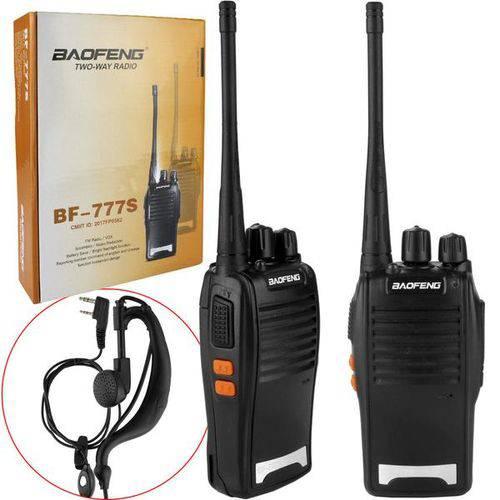 Rádio Comunicador Walk Talk com Carregador e Fone de Ouvido Par Bf-777s Bf-777s Baofeng