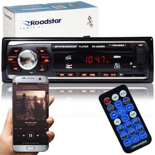 Rádio Mp3 Player Automotivo Bluetooth Roadstar RS-2606BR Fm USB Controle 7 Cores Iluminação Botões