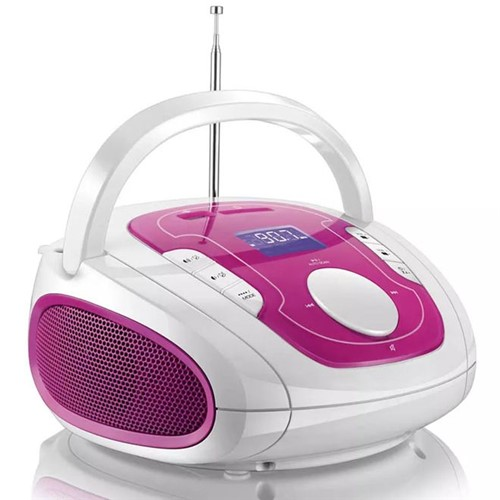 Rádio Portátil Bluetooth Branco/Rosa SP187 Multilaser