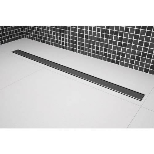 Ralo Linear Tampa Lisa de Aço Inox de 80 Cm X 5 Cm Saída Centro Vertical