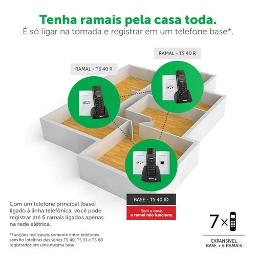 RAMAL S/ FIO DECT TS40R Preto - INTELBRAS
