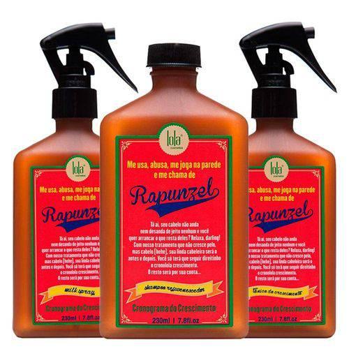 Rapunzel Lola Cosmetics - Shampoo 230ml + Tratamento Antiqueda 230ml + Leave-in 230ml