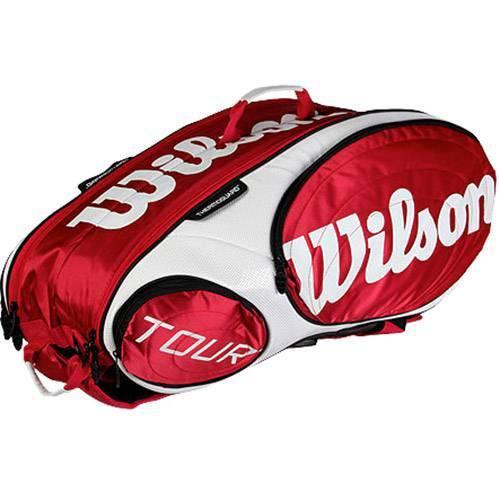 Raqueteira Wilson Tour X9 Vermelha e Branca