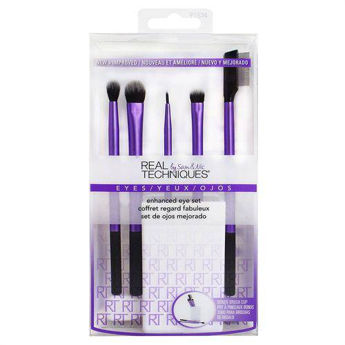 Real Techniques Kit 5 Pinceis para Olhos + Brush Cup