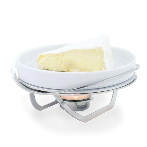 Rechaud Pequeno para Queijo Brie em Aço Inox e Porcelana 16cm Riva