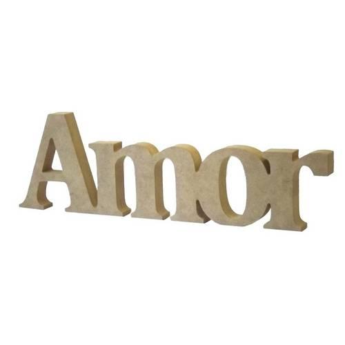 Recorte Enfeite de Mesa Amor 18x58cm - Madeira Mdf