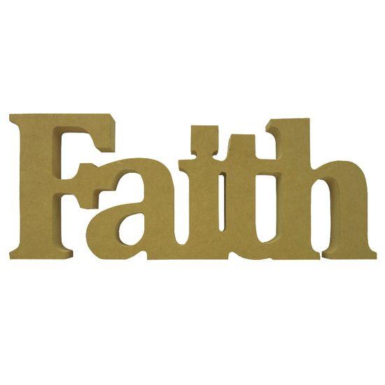 Recorte Enfeite de Mesa Faith 31x12cm - Madeira MDF
