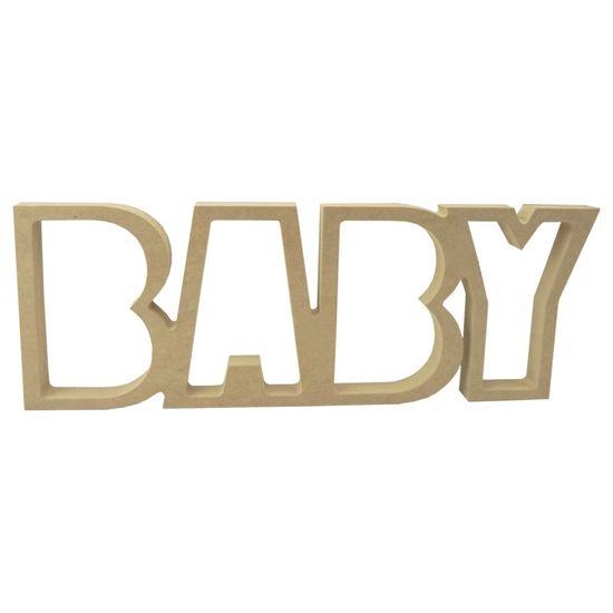 Recorte Enfeite de Mesa Palavra Baby 15x40cm - Madeira MDF