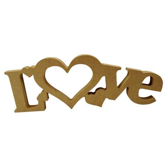 Recorte Enfeite de Mesa Palavra Love 1com 4 Corações 12x34cm - Madeira MDF