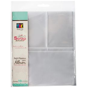 Refil Plástico para Scrapbook Pequeno Design 3 com 10 Unidades Ref.16154-RS002 Toke e Crie