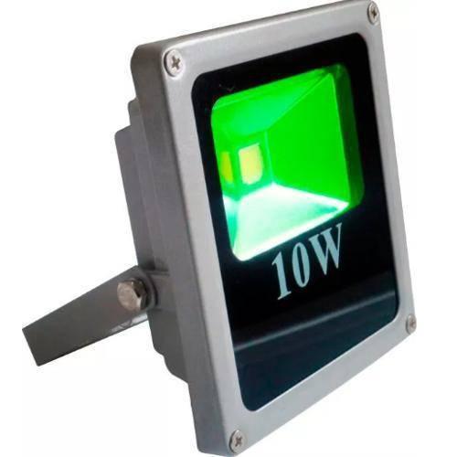 Refletor Holofote Led 10w Verde Bivolt Prova Dágua